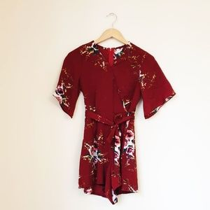 Dresses - Floral Print Jumpsuit Maroon